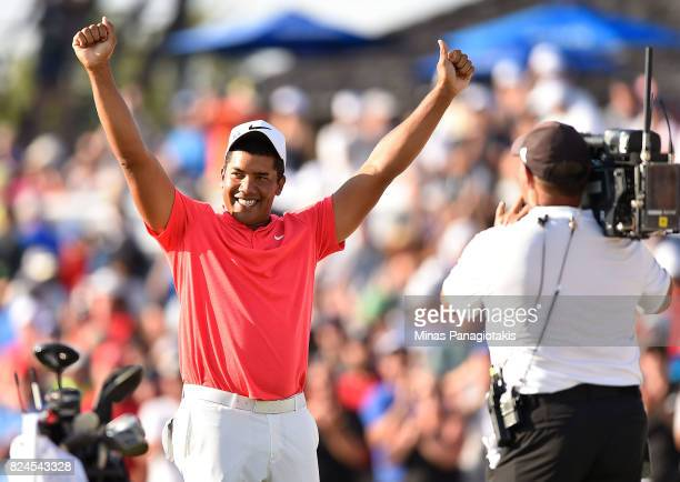 Jhonattan Vegas of Venezuela reacts to his winning putt during a sudden death playoff during the final round of the RBC Canadian Open at Glen Abbey...