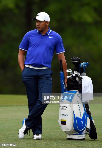 Jhonattan Vegas of Venezuela stands in the fairway on the second hole during the final round of the Shell Houston Open at the Golf Club of Houston on...
