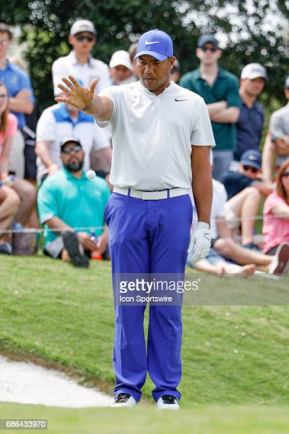 Jhonattan Vegas of Venezuela takes relief on during the third round of the ATT Byron Nelson on May 20 2017 at the TPC Four Seasons Resort in Irving TX