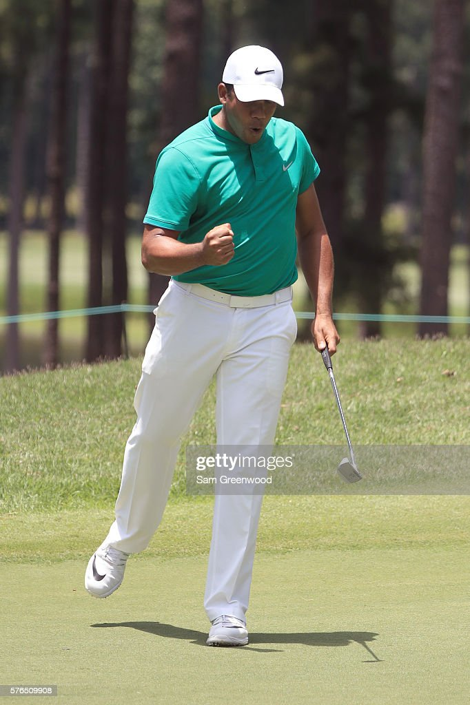 Jhonattan Vegas reacts after his shot off the ninth hole during the second round of the Barbasol Championship at the Robert Trent Jones Golf Trail at Grand National on July 15, 2016 in Auburn, Alabama.