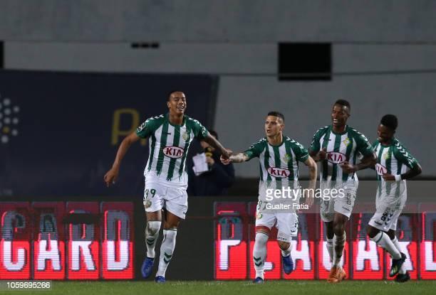 Jhonder Cadiz of Vitoria FC celebrates after scoring a goal during the Liga NOS match between Vitoria FC and CD Feirense at Estadio do Bonfim on...