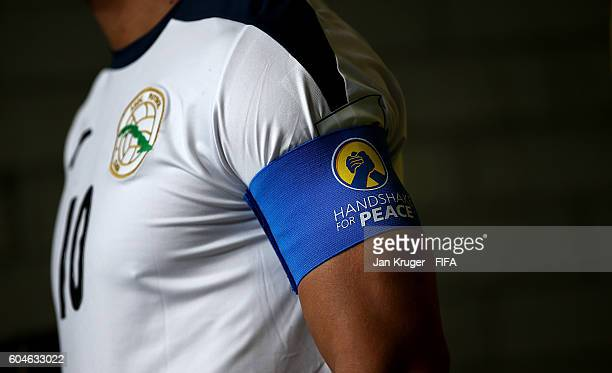 Jhonnet Martinez, captain of Cuba wears the 'Handshake for Peace' arm band during the FIFA Futsal World Cup Group B match between Thailand and Cuba...