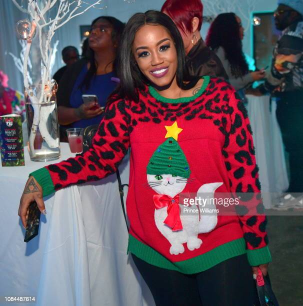 Jhonni Blaze attends Think its a Game Records Annual Ugly Christmas Sweater party at 433 Bishop on December 18 2018 in Atlanta Georgia