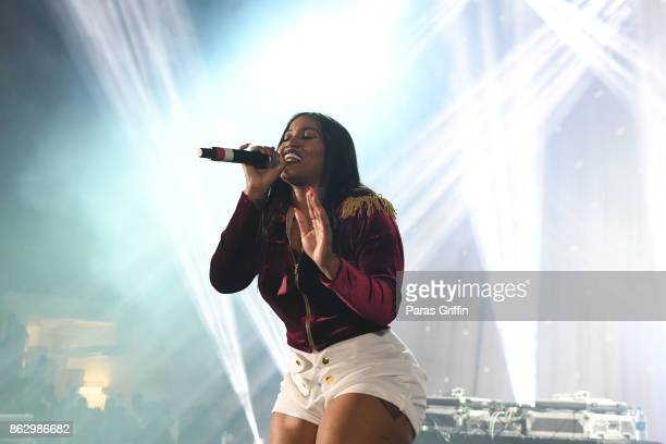 Jhonni Blaze performs onstage during Morehouse Homecoming Hip Hop Concert at Morehouse College Forbes Arena on October 18 2017 in Atlanta Georgia