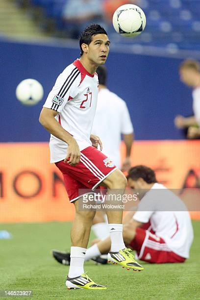Jhonny Arteaga of the New York Red Bulls warms up during the warm up period prior to facing the Montreal Impact in their MLS match at the Olympic...