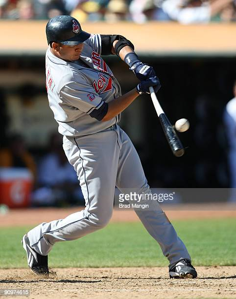 Jhonny Peralta of the Cleveland Indians bats against the Oakland Athletics during the game at the OaklandAlameda County Coliseum on September 19 2009...