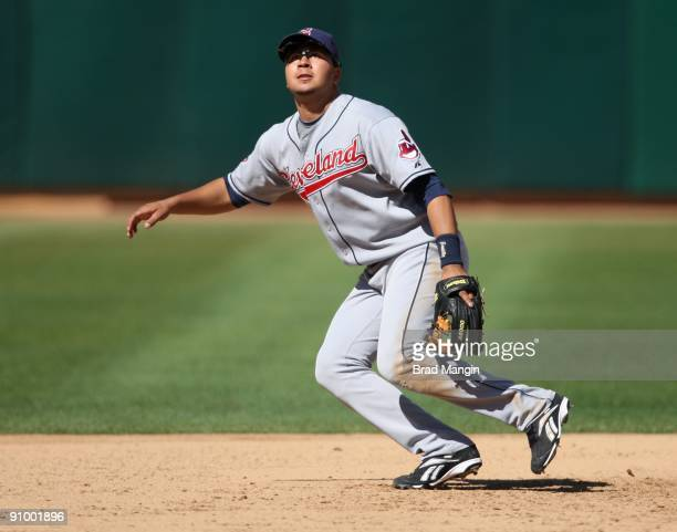 Jhonny Peralta of the Cleveland Indians plays defense at third base against the Oakland Athletics during the game at the OaklandAlameda County...