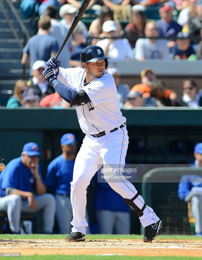 Jhonny Peralta #27 of the Detroit Tigers bats during the spring training game against the Toronto Blue Jays at Joker Marchant Stadium on March 6, 2013 in Lakeland, Florida. The Tigers defeated the Blue Jays 4-1.