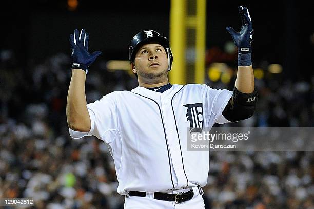 Jhonny Peralta of the Detroit Tigers celebrates after hitting a solo home run in the sixth inning of Game Three of the American League Championship...