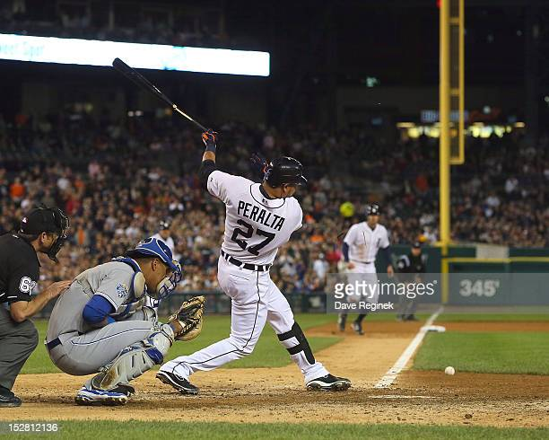Jhonny Peralta of the Detroit Tigers gets a broken bat ground ball which ended up driving in the winning run against the Kansas City Royals during a...