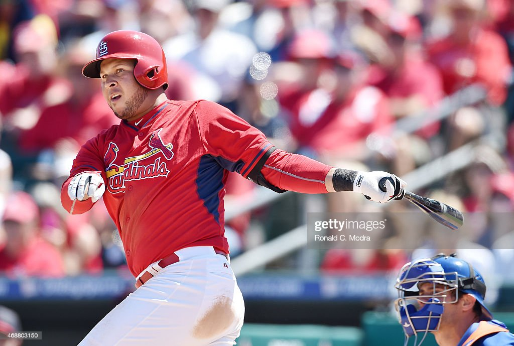 Jhonny Peralta #27 of the St. Louis Cardinals bats during a spring training game against the New York Mets on March 29, 2015 at Roger Dean Stadium in Jupiter, Florida.