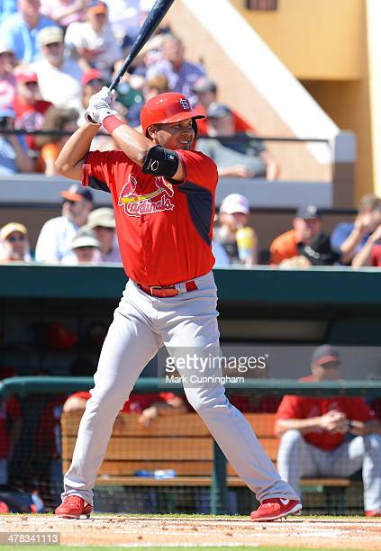 Jhonny Peralta of the St Louis Cardinals batsl during the spring training game against the Detroit Tigers at Joker Marchant Stadium on March 3 2014...
