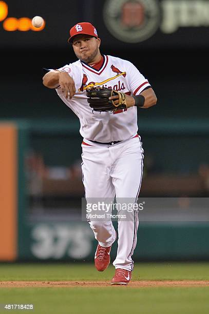 Jhonny Peralta of the St Louis Cardinals fields the ball in the sixth inning against the Kansas City Royals at Busch Stadium on July 23 2015 in St...