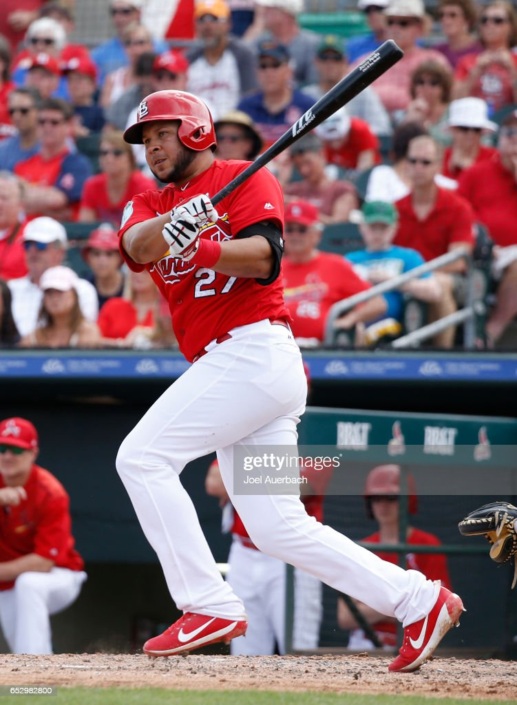 Jhonny Peralta #27 of the St Louis Cardinals hits a double driving in a run against the Houston Astros in the sixth inning during a spring training game at Roger Dean Stadium on March 13, 2017 in Jupiter, Florida. The Cardinals defeated the Astros 6-3.