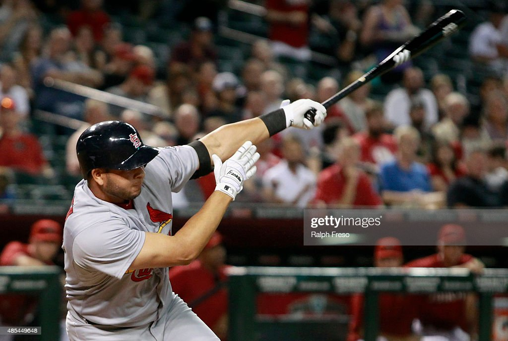 Jhonny Peralta #27 of the St Louis Cardinals hits a ground ball against the Arizona Diamondbacks during the third inning of a MLB game at Chase Field on August 26, 2015 in Phoenix, Arizona. The Cardinals defeated the Diamondbacks 3-1.