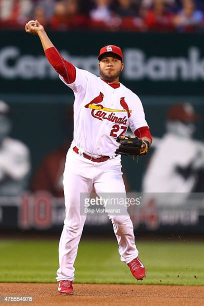 Jhonny Peralta of the St Louis Cardinals hows a runner out at first base against the Milwaukee Brewers in the third inning at Busch Stadium on June 1...