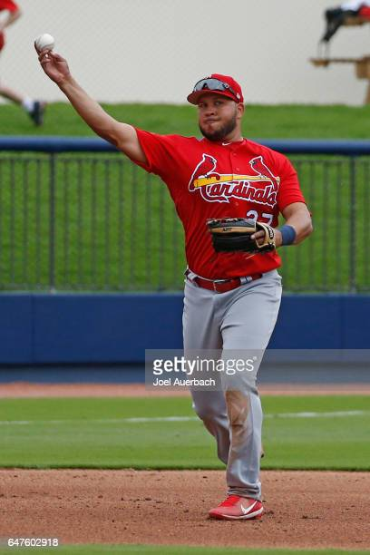 Jhonny Peralta of the St Louis Cardinals throws out Anthony Rendon of the Washington Nationals in the fourth inning during a spring training game at...