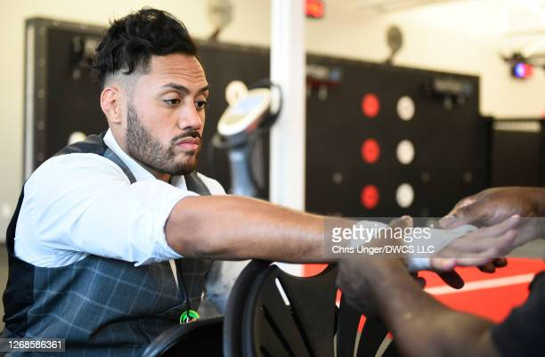 Jhonoven Pati has his hands wrapped prior to his fight during week four of Dana White's Contender Series season four at UFC APEX on August 25 2020 in...