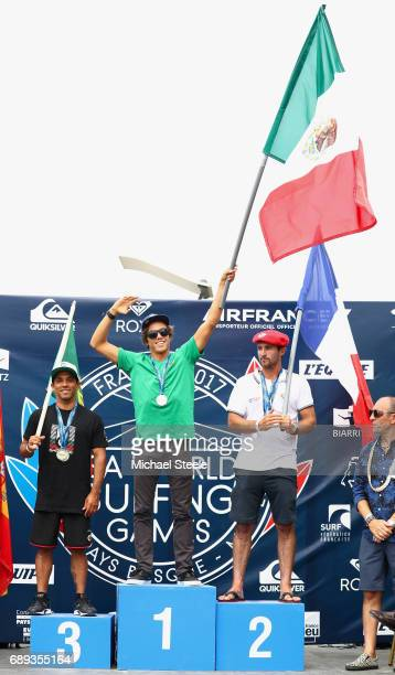 Jhony Corzo of Mexico winner of the Men's Final alongside silver medalist Joan Daru of France and bronze medalist Pedro Henrique of Portugal at the...
