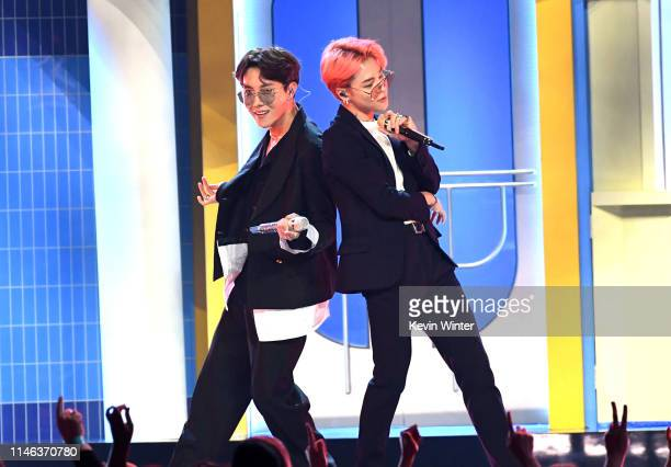 Hope and Jimin of BTS perform onstage during the 2019 Billboard Music Awards at MGM Grand Garden Arena on May 01, 2019 in Las Vegas, Nevada.