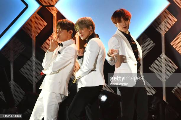 JHope Jimin and Jungkook of BTS perform onstage during 1027 KIIS FM's Jingle Ball 2019 Presented by Capital One at the Forum on December 6 2019 in...