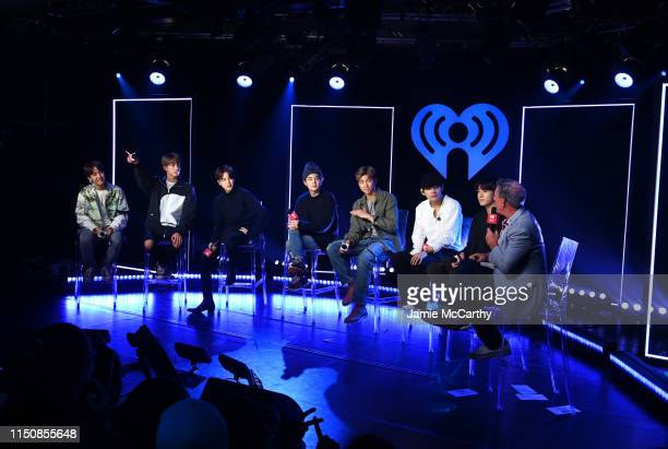 jhope Jin Jimin SUGA RM V Jungkook of BTS appear onstage with Elvis Duran for iHeartRadio Live with BTS at iHeartRadio Theater New York on May 21...
