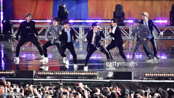 Hope Jungkook Jimin Suga and Jin of BTS perform on Good Morning America on May 15 2019 in New York City