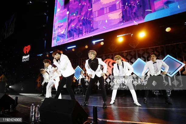 RM JHope Jungkook Jimin Suga and Jin of BTS perform onstage during 1027 KIIS FM's Jingle Ball 2019 Presented by Capital One at the Forum on December...