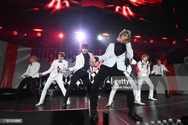 RM JHope Jungkook Jimin V Suga and Jin of BTS perform onstage during 1027 KIIS FM's Jingle Ball 2019 Presented by Capital One at the Forum on...