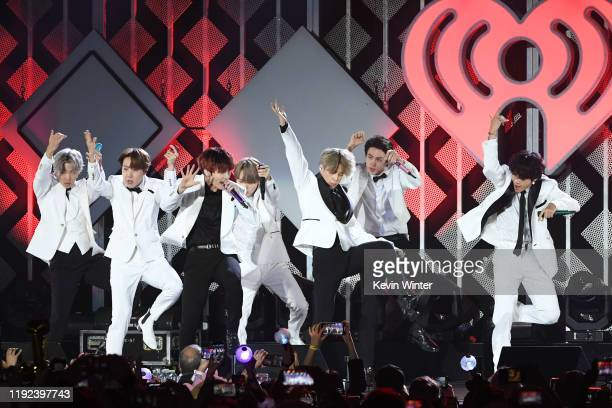 Hope, Jungkook, Suga, RM, Jin, and V of BTS perform onstage during 102.7 KIIS FM's Jingle Ball 2019 Presented by Capital One at the Forum on December...