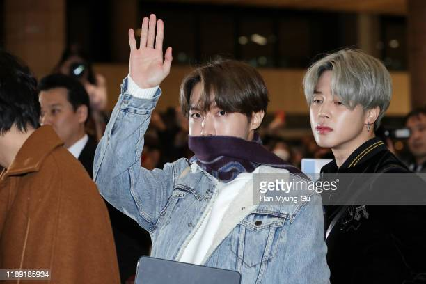 Hope of boy band BTS is seen on departure at Gimpo International Airport on November 21 2019 in Seoul South Korea