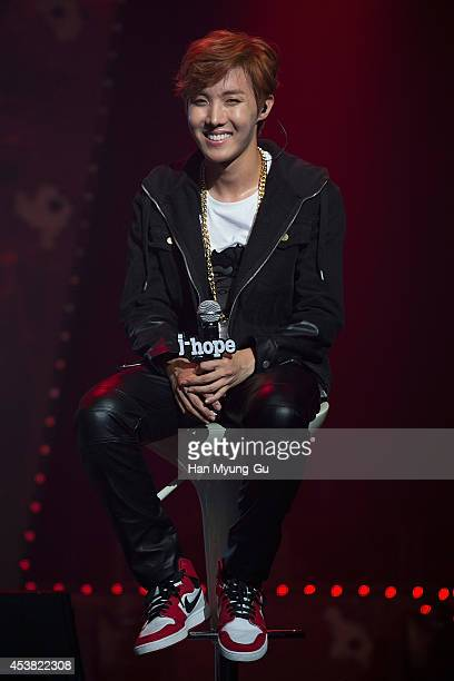 jhope of BTS attends the BTS 1st Album Dark And Wild Show Case at the Samsung Card Hall on August 19 2014 in Seoul South Korea