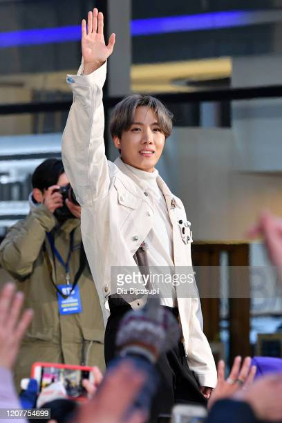 Hope of the Kpop boy band BTS visits the Today Show at Rockefeller Plaza on February 21 2020 in New York City