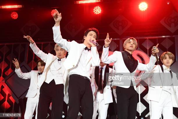 JHope RM Jin Jimin and Suga of BTS perform onstage during 1027 KIIS FM's Jingle Ball 2019 Presented by Capital One at the Forum on December 6 2019 in...