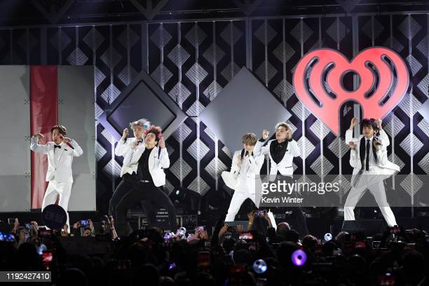 Hope, RM, Jungkook, Suga, Jimin, and V of BTS perform onstage during 102.7 KIIS FM's Jingle Ball 2019 Presented by Capital One at the Forum on...