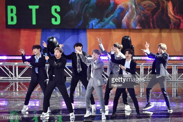 Hope RM Jungkook Suga V Jimin and Jin of BTS perform on Good Morning America on May 15 2019 in New York City