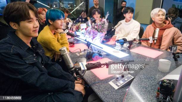 JHope V Jimin Jungkook Suga Jin and RM of BTS visit The Elvis Duran Z100 Morning Show at Z100 Studio on April 12 2019 in New York City
