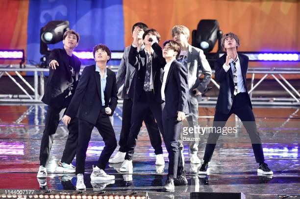 Hope V Jungkook Jimin Suga and Jin of BTS perform on Good Morning America on May 15 2019 in New York City