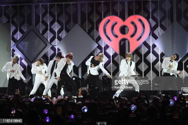 RM JHope V Jungkook Jimin Suga and V of BTS perform onstage during 1027 KIIS FM's Jingle Ball 2019 Presented by Capital One at the Forum on December...