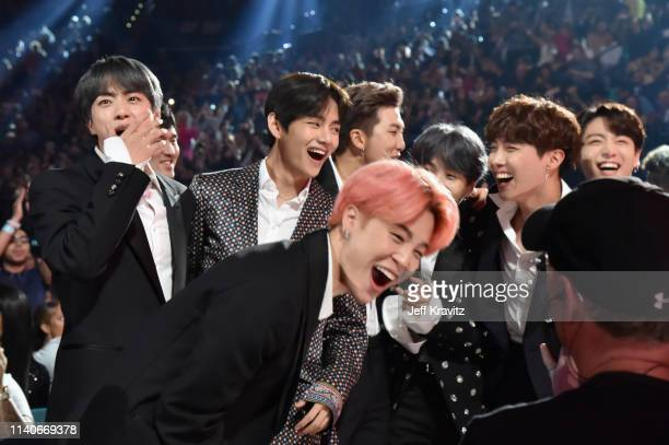 Hope V Jungkook Jimin Suga Jin and RM of BTS accept Top Duo/Group during the 2019 Billboard Music Awards at MGM Grand Garden Arena on May 1 2019 in...