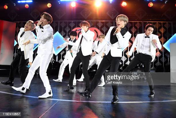 Hope, V, Jungkook, Suga, Jimin, and Jin of BTS perform onstage during 102.7 KIIS FM's Jingle Ball 2019 Presented by Capital One at the Forum on...