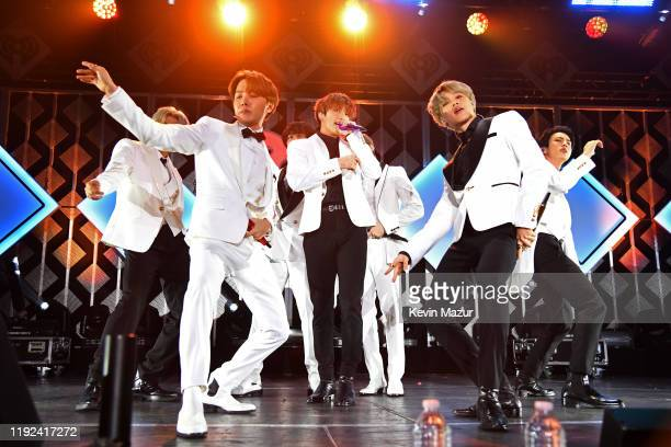 RM JHope V Jungkook Suga Jimin and Jin of BTS perform onstage during 1027 KIIS FM's Jingle Ball 2019 Presented by Capital One at the Forum on...