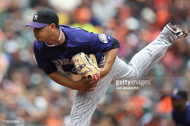 Jhoulys Chacin of the Colorado Rockies pitches against the San Francisco Giants during an MLB game at ATT Park on June 4 2011 in San Francisco...