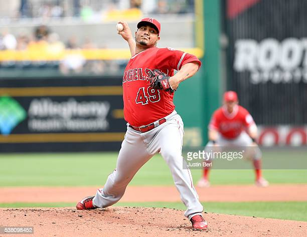 Jhoulys Chacin of the Los Angeles Angels of Anaheim delivers a pitch in the first inning during the game against the Pittsburgh Pirates at PNC Park...