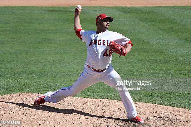 Jhoulys Chacin of the Los Angeles Angels of Anaheim pitches against the Houston Astros at Angel Stadium of Anaheim on October 2 2016 in Anaheim...