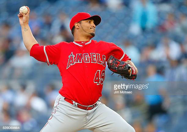Jhoulys Chacin of the Los Angeles Angels of Anaheim pitches in the first inning against the New York Yankees at Yankee Stadium on June 9 2016 in the...