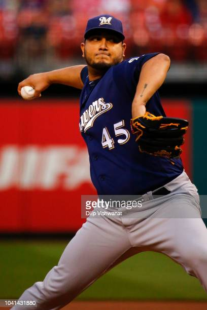 Jhoulys Chacin of the Milwaukee Brewers delivers a pitch against the St Louis Cardinals in the first inning at Busch Stadium on September 26 2018 in...