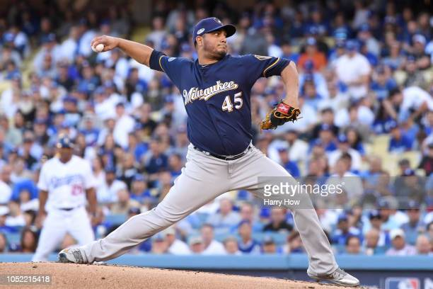 Jhoulys Chacin of the Milwaukee Brewers delivers a pitch in the first inning against the Los Angeles Dodgers in Game Three of the National League...