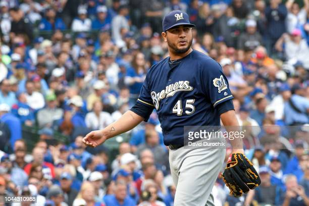 Jhoulys Chacin of the Milwaukee Brewers looks on during the game against the Chicago Cubs on Monday October 1 2018 at Wrigley Field in Chicago...