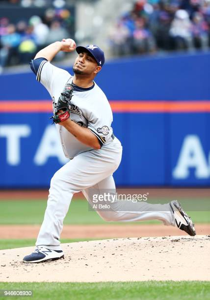 Jhoulys Chacin of the Milwaukee Brewers pitches against the New York Mets during their game at Citi Field on April 15 2018 in New York City All...
